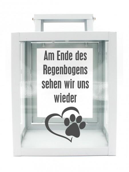 Metall-Laterne Am Ende des Regenbogens Hund Katze Tier-Pfote weiß 25x18x13cm für LED-Kerzen