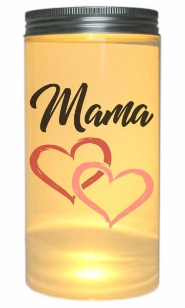LED-Licht Mama mit Herz, 14x7cm Dose mit Deckel Leuchte LED-Lampe mit Text Spruch Mama Mutter-Tag