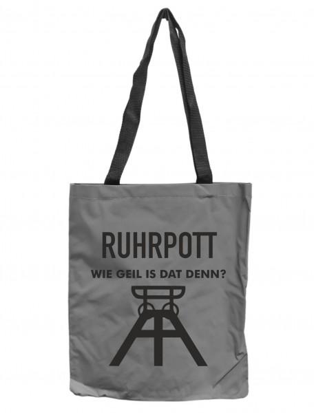 Reflektor-Tasche Ruhrpott wie geil is dat denn, grau-silber REFLEKTIERT! Einkaufs-Beutel mit Innentasche, Einkaufstasche Tragetasche Shopper Shopping-Bag