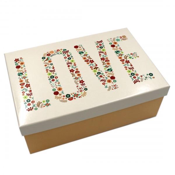 Geschenkbox, LOVE / creme orange gelb, 26x18x9,5cm, 50792, Kiste Box aus Pappe