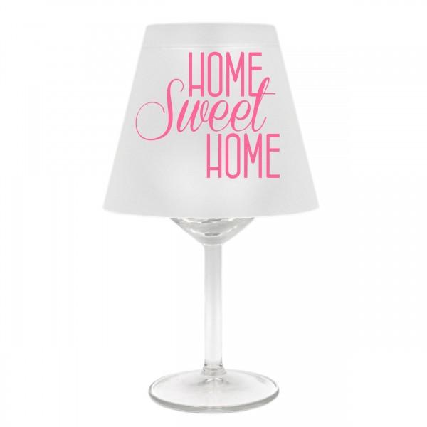 Lampenschirm für Weinglas, HOME sweet HOME, B,rosa, Schirm ohne Glas, Windlicht