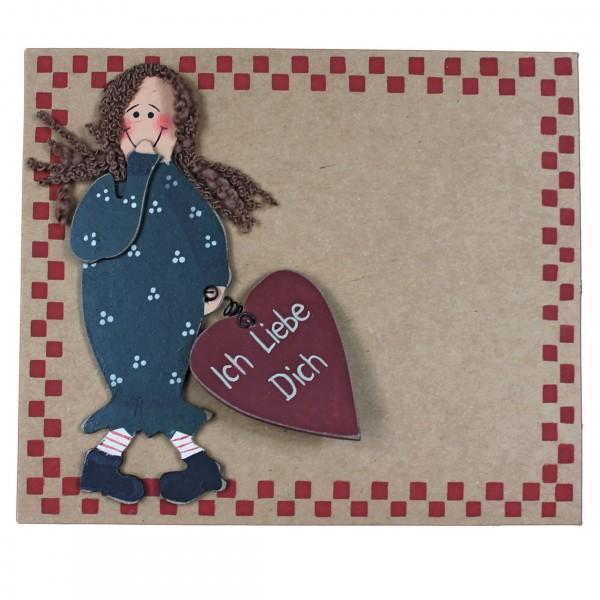 Grußkarte mit Holzfigur, Ich Liebe Dich, Mädchen, mit Umschlag, Pappe 16,5 x 14 cm