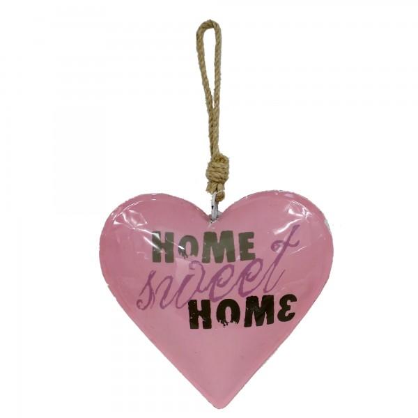 Buntes Herz zum Hängen, HOME sweet HOME, aus Metall, ca 32cm lang, rosa