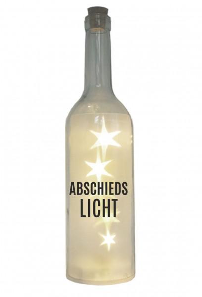 LED-Flasche mit Motiv, Abschieds-Licht, grau, 29cm, Flaschen-Licht Lampe mit Text Spruch Trauer-Licht