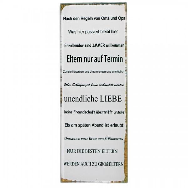 ~ Kleines Schild aus Glas zum stellen, Nach den Regeln von Oma und Opa ..., 16 x 6 cm