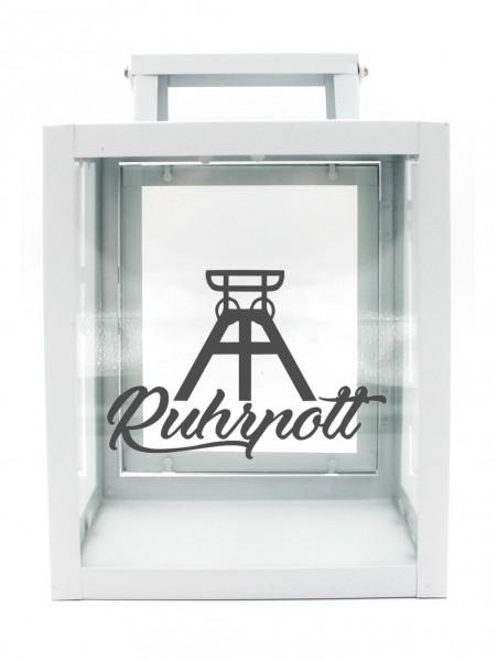 Metall-Laterne Ruhrpott Förderturm weiß 25x18x13cm für LED-Kerzen