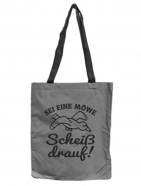 Reflektor-Tasche Sei eine Möwe Scheiß drauf, grau-silber REFLEKTIERT! Einkaufs-Beutel mit Innentasche, Einkaufstasche Tragetasche Shopper Shopping-Bag maritim
