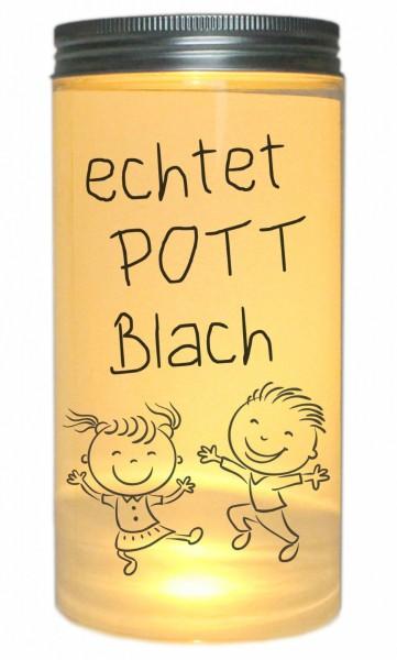 LED-Licht echtet POTT Blach, Ruhrgebiet Ruhrpott, 14x7cm Dose mit Deckel Leuchte LED-Lampe mit Text Spruch