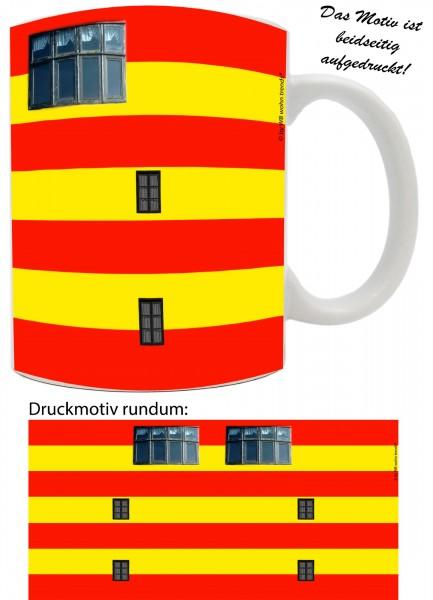 Tasse mit rundum Motiv: Leuchtturm Pilsum, Farbe: weiß, Kaffee-Becher mit Motiv