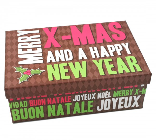 Geschenkbox, Merry X-Mas and a happy new year - Frohe Weihnachten, 23,5x15x8,5cm, 24798 , Kiste Box aus Pappe