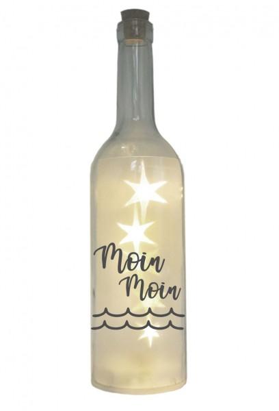 LED-Flasche mit Motiv, Moin Moin Welle, grau, 29cm, Flaschen-Licht Lampe mit Text Spruch Nordsee Ostsee Meer