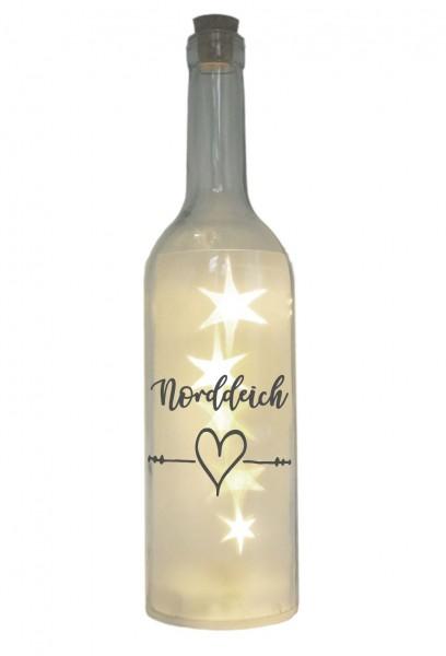 LED-Flasche mit Motiv, Norddeich Herz, grau, 29cm, Flaschen-Licht Lampe mit Text Spruch Stadt