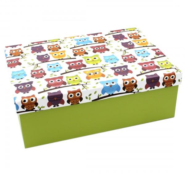 Geschenkbox ~ grün bunt Eulen ~ 18x10,5x7cm ~ 10798 ~ Kiste Box aus Pappe