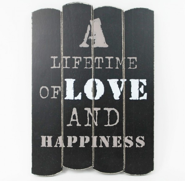 Wandschild Holzschild schwarz im Shabby- Chic- Look 'A Lifetime of love and happiness'