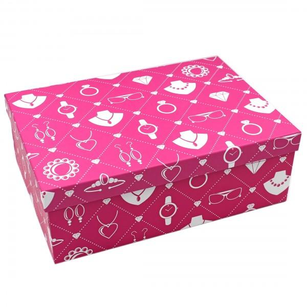 Geschenkbox ~ Motiv: Schmuck Accessoires in pink ~ 26x18x9,5cm ~ 40798 ~ Kiste Box aus Pappe