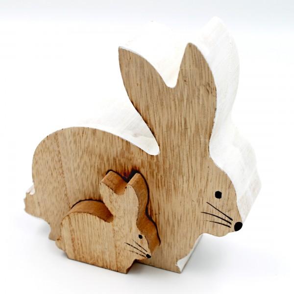 Sitzendes Hasen Pärchen ~ weiß natur ~ 18 x 17cm ~ Figuren aus Holz für Ostern