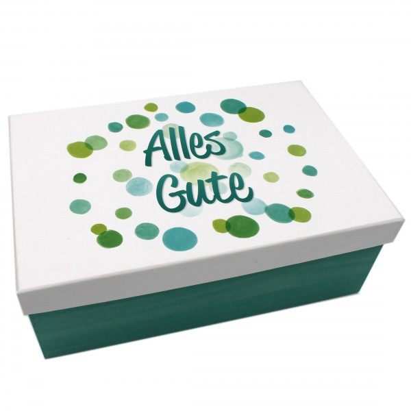 Geschenkbox, Alles Gute / Kreise türkis weiß bunt, 26x18x9,5cm, 24892, Kiste Box aus Pappe