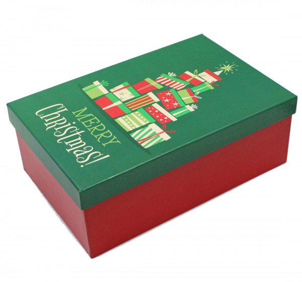 Geschenkbox, Merry Christmas - Geschenke Weihnachten grün rot, 20 x 13,5 x 7 cm, 567860, Kiste Box aus Pappe