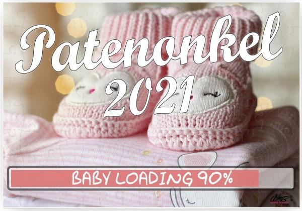 Puzzle-Botschaft eckig, Patenonkel 2021 / Mädchen rosa Baby-Schuhe, 120 Teile 27x18cm inkl. Geschenk-Beutel