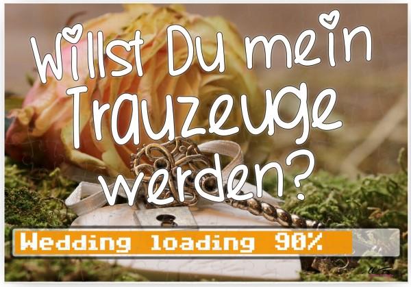 Puzzle-Botschaft eckig, Willst Du mein Trauzeuge werden - Wedding loading, (zur Hochzeit) 120 Teile 27x18cm inkl. Geschenk-Beutel, WB wohn trends®