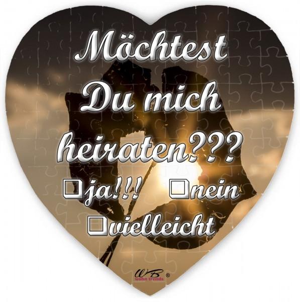 Puzzle-Botschaft Herz ~ HEIRATSANTRAG: Möchtest Du mich heiraten - Blatt Sonne ~ 75 Teile 19x19cm inkl. Geschenk-Beutel