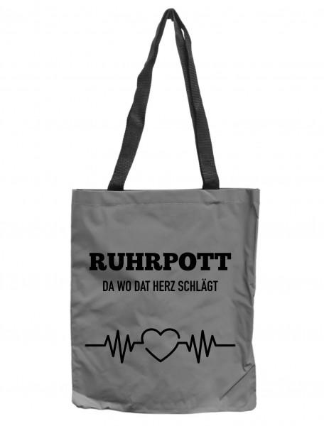 Reflektor-Tasche Ruhrpott da wo dat Herz schlägt, grau-silber REFLEKTIERT! Einkaufs-Beutel mit Innentasche, Einkaufstasche Tragetasche Shopper Shopping-Bag