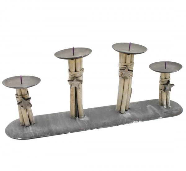 Kerzenhalter für 4 Kerzen aus Metall und Holz ~ Adventskranz ~ shabby Look ~ 44 cm lang