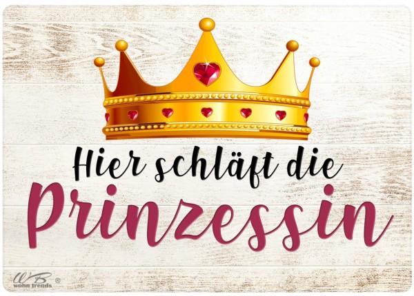 Holz-Postkarte, Hier schläft die Prinzessin, Holz-Schild Wand-Bild Deko-Schild 15x10cm Krone