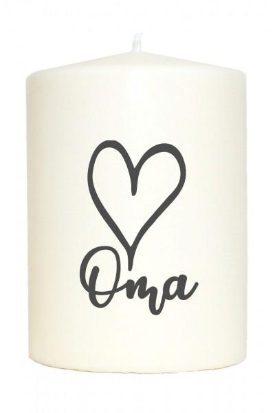Kleine Spruchkerze weiß, Oma Herz, Aufdruck grau, 10x7cm, Kerze mit Spruch Motiv-Kerze