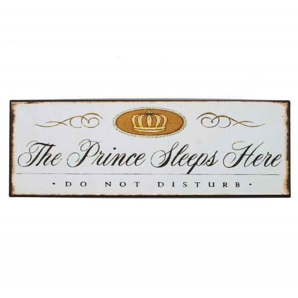 Schild aus Metall - The Prince Sleeps Here - 35 x 12 cm - Blechschild Türschild Prinz Junge
