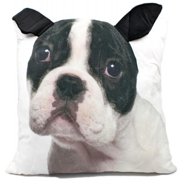 Flauschiges 3D Deko-Kissen mit Tier-Motiv, Hund Bulldogge, mit angenähten Plüsch-Ohren, 42x42cm