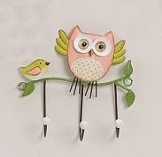 Niedlicher Wandhaken ~ Eule mit Vogel lachs ~ Haken kleine Garderobe Hakenleiste