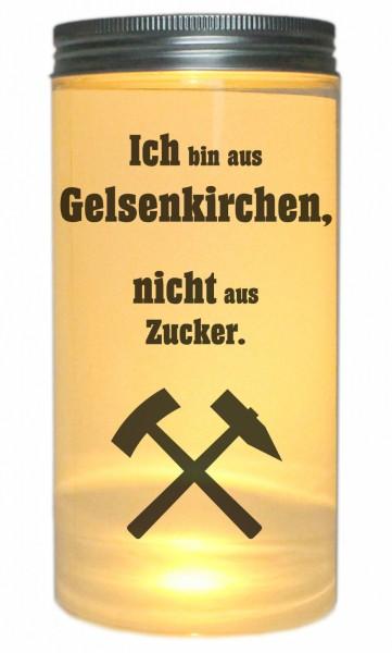 LED-Licht Ich bin aus Gelsenkirchen nicht aus Zucker, 14x7cm Dose mit Deckel Leuchte LED-Lampe mit Text Spruch