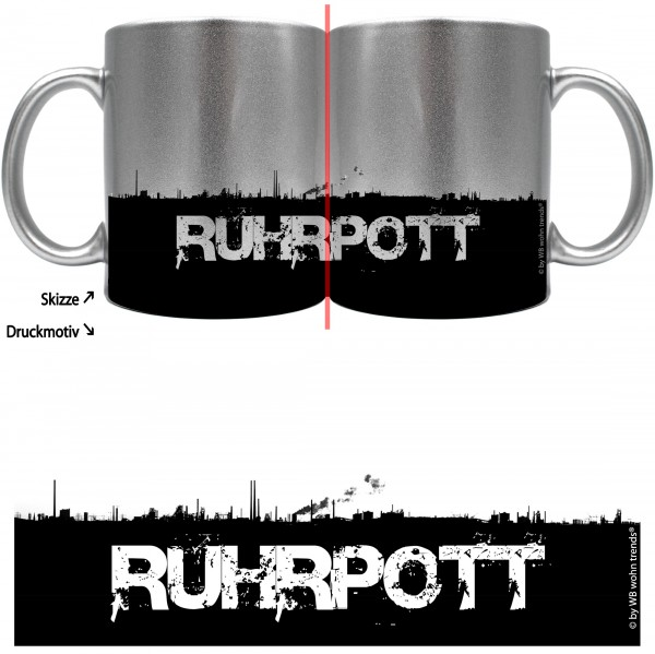 knallige Tasse mit rundum Motiv: RUHRPOTT Skyline, Farbe: silber-metallic, Kaffee-Becher mit Motiv
