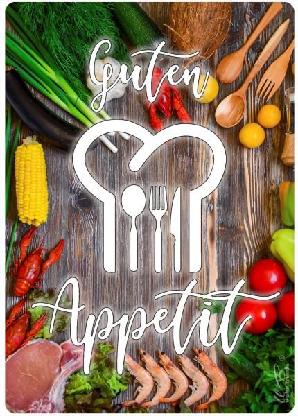 Holz-Brett, Guten Appetit, Küche Essen gedeckter Tisch, Holz-Schild Wand-Bild 21x15cm