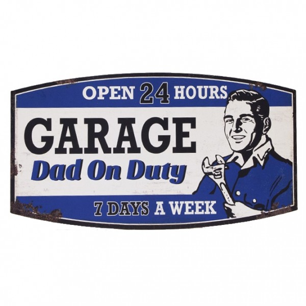 Blechschild ~ GARAGE Dad on Duty OPEN 24 HOURS ~ 53 x 29 cm ~ Vintage Schild aus Metall