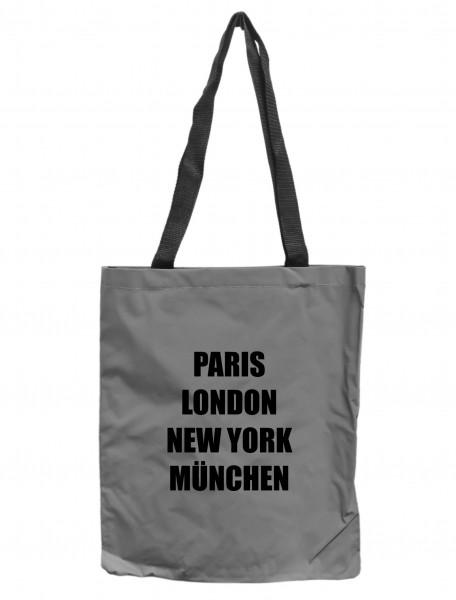 Reflektor-Tasche München - Paris London New York, grau-silber REFLEKTIERT! Einkaufs-Beutel mit Innentasche, Einkaufstasche Tragetasche Shopper Shopping-Bag maritim