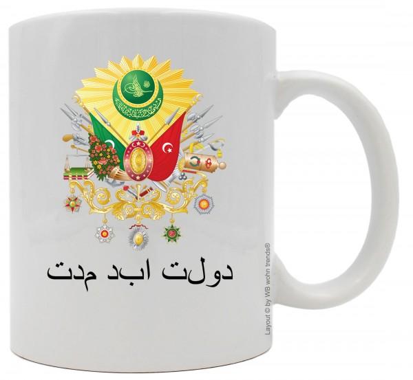 Tasse mit beidseitigem Motiv, Wappen Osmanisches Reich Der ewige Staat, Farbe: weiß, Kaffee-Becher mit Motiv