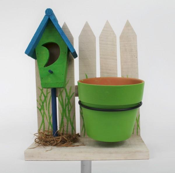 Pflanztopf Vogelhäuschen mit Gartenstecker - aus Holz - 138cm