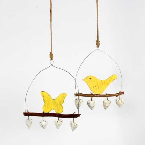 Deko Hänger Nature - Vogel - aus Holz - weiß/gelb - 25cm breit