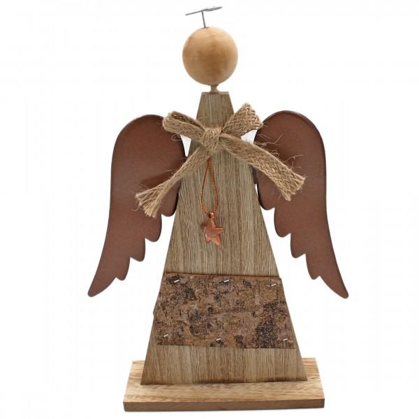 Schöner Deko-Engel aus Holz, braun natur, Flügel aus Metall, 28cm, Weihnachten