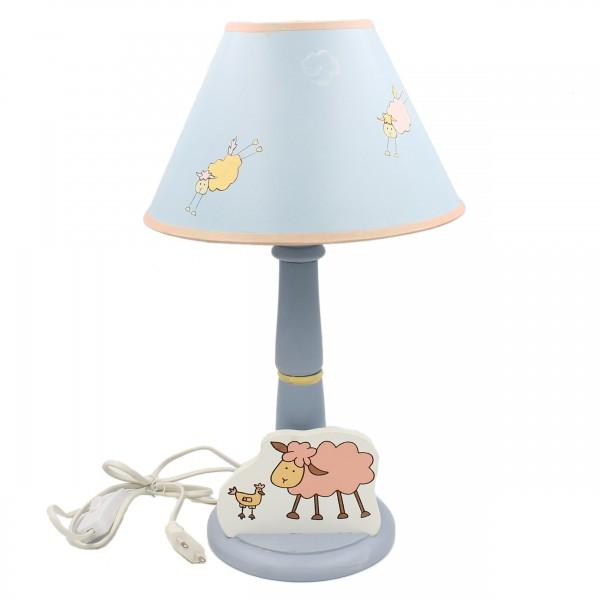 Bunte Lampe für Kinderzimmer ~ Schaf ~ aus Holz mit Schirm ~ 39cm hoch ~ E14 40W