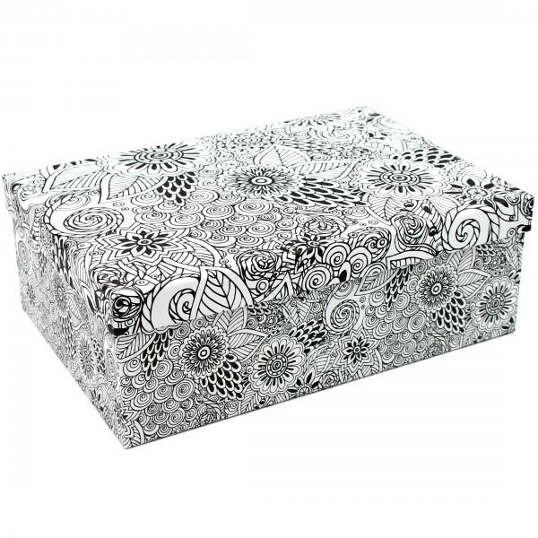 Geschenkbox, schwarz-weiß Ornamente Mandala, 18x10,5x7cm, 10798, Kiste Box aus Pappe