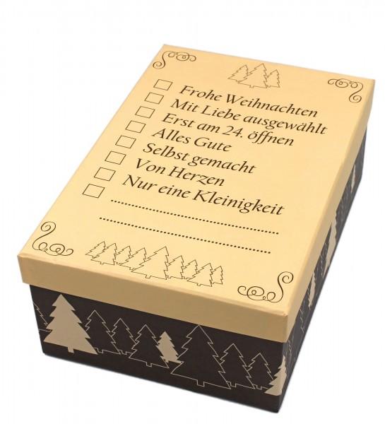 Geschenkbox, Inhalt zum Ankreuzen - Frohe Weihnachten, 21,5x12,5x8cm, 23798, Kiste Box aus Pappe