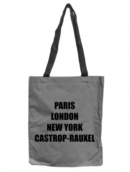 Reflektor-Tasche Castrop-Rauxel - Paris London New York, grau-silber REFLEKTIERT! Einkaufs-Beutel mit Innentasche, Einkaufstasche Tragetasche Shopper Shopping-Bag Ruhrpott