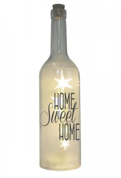 LED-Flasche mit Motiv, Home Sweet Home, grau, 29cm, Flaschen-Licht Lampe mit Text Spruch