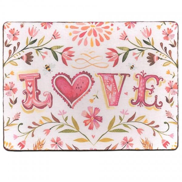 ~ LOVE Blumen, Schild aus Holz mit Leinen-Aufdruck, 19 x 14 cm