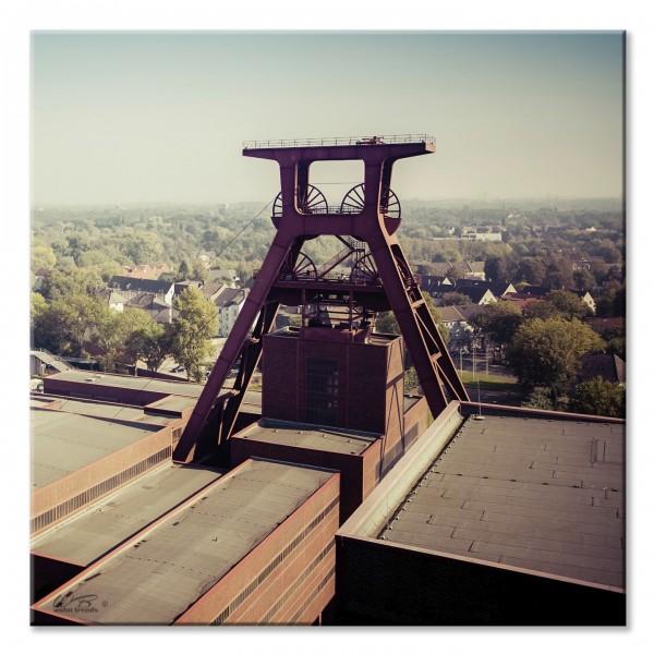 Deko-Fliese, Zeche in Essen Ruhrpott Ruhrgebiet, Foto-Fliese Wand-Bild Deko-Bild 15x15cm