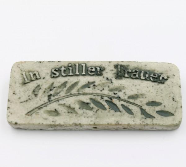 Platte zum Legen, Hängen und Blumenstecker ~ In stiller Trauer ~ grau Marmor Optik ~ 9,5 x 4 x 1cm
