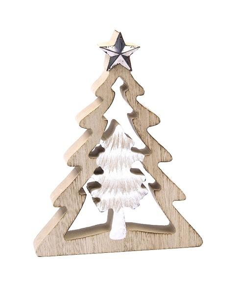 Deko-Figur aus Holz Doppelter Weihnachts-Baum Tanne mit Stern, weiß natur, 16x12,5x2cm Weihnachts-Deko Weihnachten